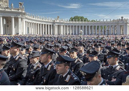 Rome Italy - April 30 2016: Police in uniform lined up in St. Peter's Square on the occasion of the Jubilee of the armed forces.