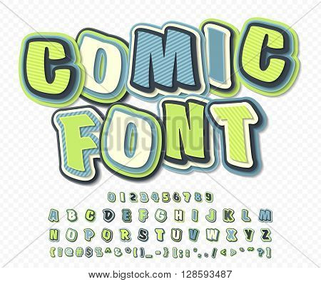 Creative green-blue high detail comic font. Alphabet in style of comics, pop art. Multilayer funny colorful letters and figures for decoration of illustrations, websites, posters, comics, banners