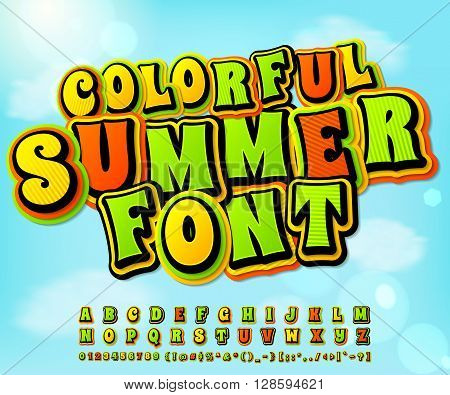 Colorful summer high detail comic font on the summer background. Alphabet in style of comics, pop art. Multilayer letters and figures for illustrations, websites, posters, comics, banners