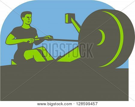 Illustration of a rower exercising on a rowing machine viewed from front set inside half circle done in retro style.