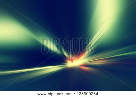 Abstract image of speed motion at night in the tunnel.