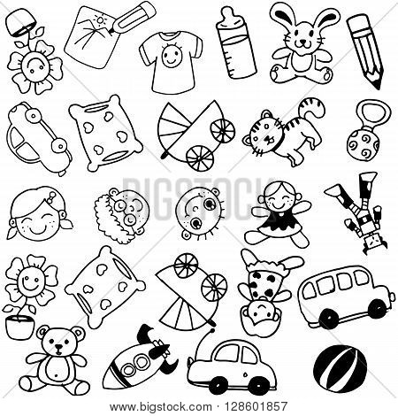 Toy doodle art for kids with black and white backgrounds