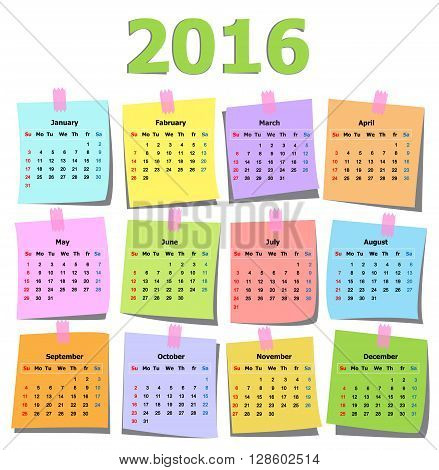 colorful calendar 2016 on note page paper vector illustration