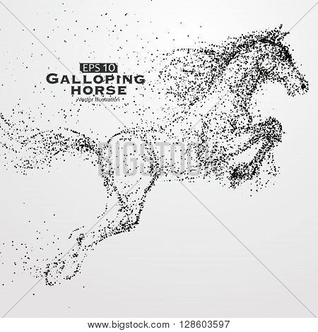 Galloping horseMany particlessketchvector illustrationThe moral development and progress.