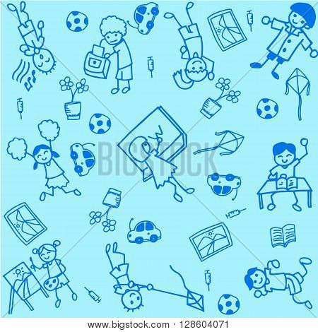 Student of doodle art with blue backgrounds