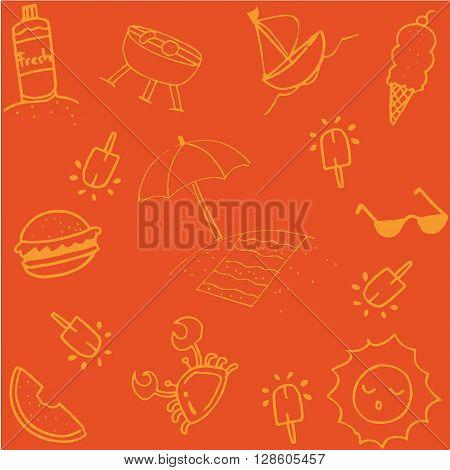 Summer of doodle art for kids orange backgrounds