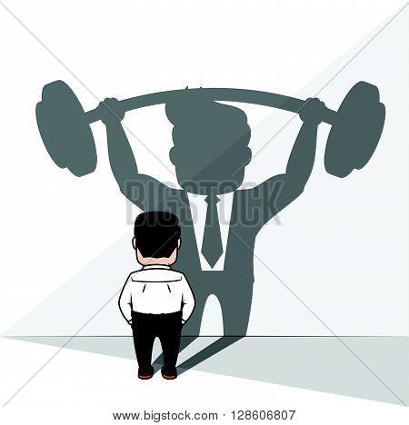 Business man strongest shadow. eps10 editable vecor illustration design