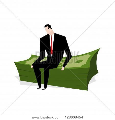 Businessman Sitting On Stack Of Dollars. Businessman And Profit. Man Is Sitting On Big Wad Of Cash.