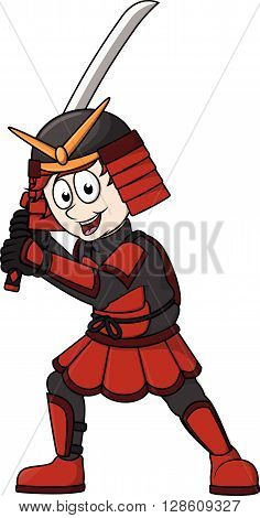Samurai boy cartoon illustration .eps10 editable vector illustration design