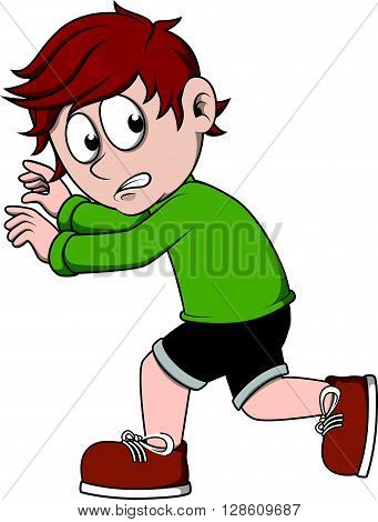 boy scared cartoon illustration .eps10 editable vector illustration design