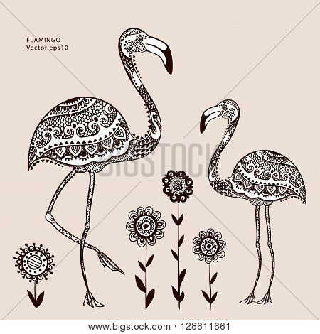 Vector tribal Flamingo bird with ethnic ornaments
