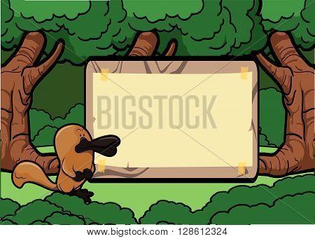 Platypus forest scene with wood banner .eps10 editable vector illustration design