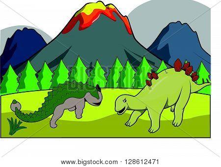 Dinosaurus group Prehistoric scenery .eps10 editable vector illustration design poster