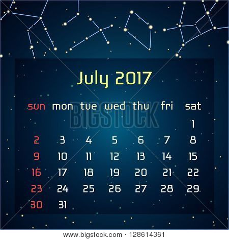 Vector calendar for 2017 in the space style. Calendar for the month of July, with the image of the constellations in the night starry sky. Elements for creative design ideas of your calendar