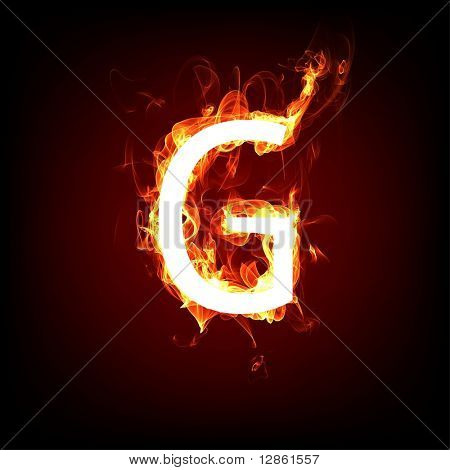 Fiery font for hot flame design. Letter G poster