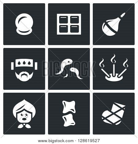 Vector Set of Alternative Medicine Icons. Vacuum therapy, Mustard plaster, Enema, Compress, Girudotherapy, Aromatherapy, Incantation, Bonesetter, Gypsum.