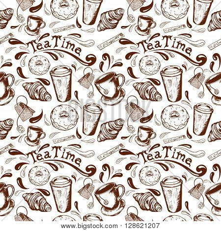 seamless pattern with inscription tea time donut glaze croissant cup and saucer cup of coffee to go Stick sugar and splatter retro hand-drawn