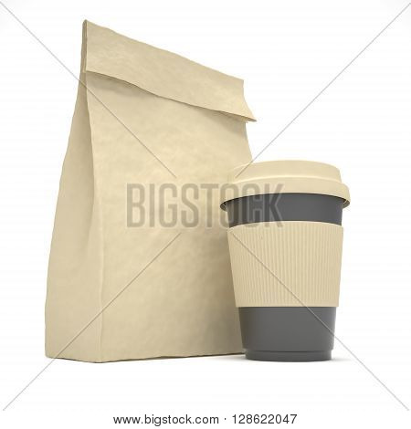 Coffee to go and lunch bag, on white. 3d rendering.