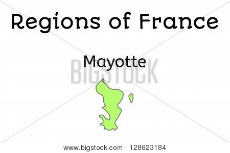 France administrative map of Mayotte region on white