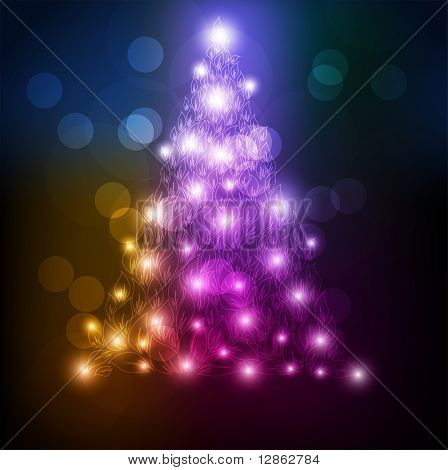 Abstract Glowing Circles of light with Rainbow Colors Background. Abstract christmas fur tree for xmas design