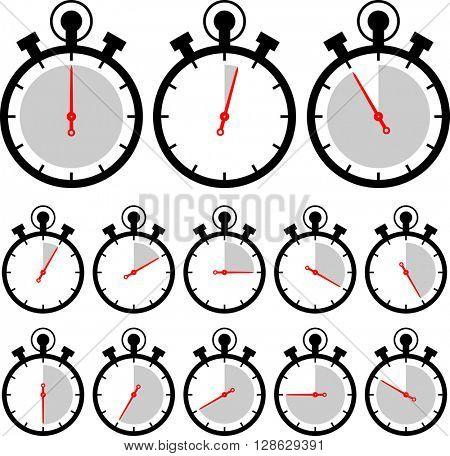 Stopwatch Icon Set raster Illustration