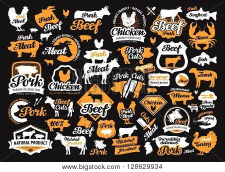 vector set of food, meat labels, logos, icons and design elements