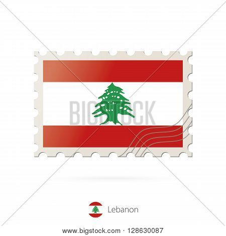 Postage Stamp With The Image Of Lebanon Flag.
