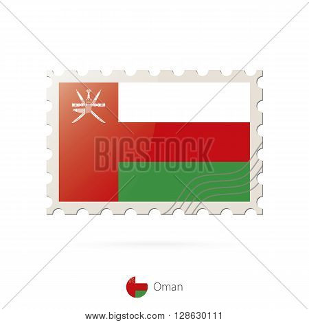 Postage Stamp With The Image Of Oman Flag.