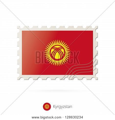 Postage Stamp With The Image Of Kyrgyzstan Flag.