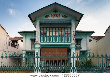 GEORGE TOWN MALAYSIA - MARCH 22: Facade of the old historial shophouse in George Town on March 22 2016 in George Town Malaysia.