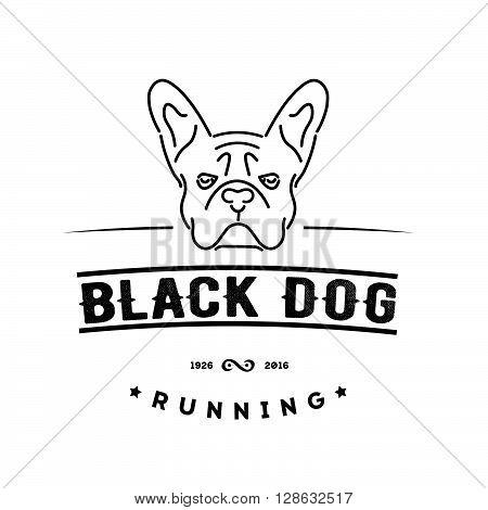 Hipster logo with french bulldog . Nanoline style