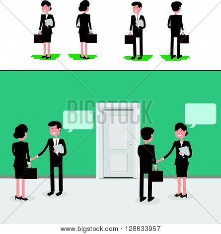 Two caucasian businessmen woman and man with documents in hands talking in office. Partnership teamwork concept. A contemporary flat style. Vector illustration bussiness woman and man in front and back with bubble speech.
