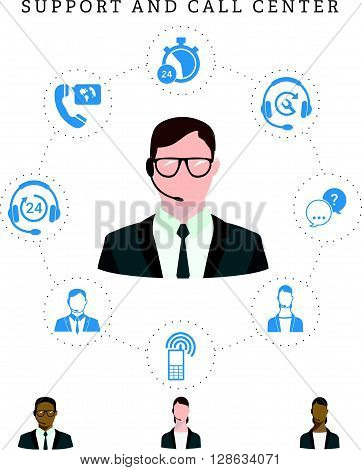 Set of call center service and support icons: hotline contact center contacts mobile phone and communication. Operator of call center in glasses. Isolated vector illustration.
