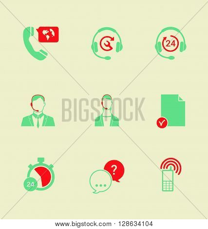 Set of call center and support service icons: hotline contact center contacts mobile phone and communication isolated vector illustration.