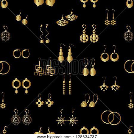 Various Gold Ladies Earrings Types Seamless Pattern Eps10