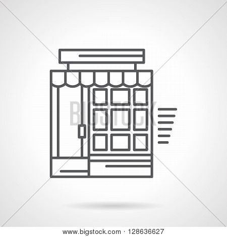 Building facade with door, tileable window and awning. Storefronts and showcases. Drugstore, shop, market, grocery. Flat line style vector icon. Single design element for website, business.