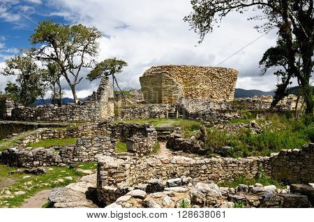 South America Peru Kuelap matched in grandeur only by the Machu Picchu this ruined citadel city in the mountains near Chachapoyas. Sun temple