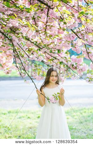 Small Pretty Girl In Blossom