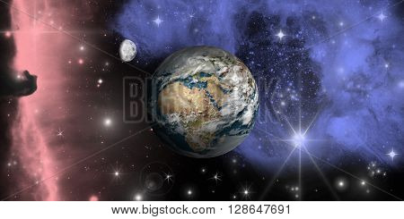 A rendering of Earth floating through Space