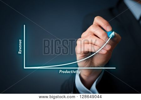 Productivity and revenue relation concept. Businessman draw graph with productivity and revenue.