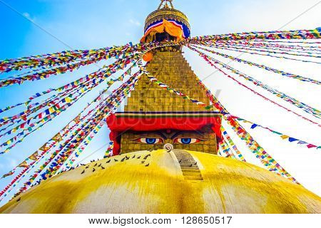 Boudhanath Stupa with the watching eyes of buddha and Colourful Prayer Flags. ** Note: Soft Focus at 100%, best at smaller sizes