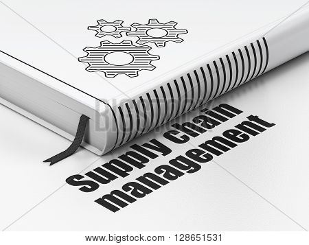 Marketing concept: closed book with Black Gears icon and text Supply Chain Management on floor, white background, 3D rendering