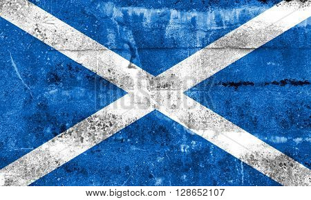 Scotland Flag painted on grunge wall. Vintage and old look