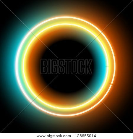 Neon circle. Neon colorful light. electric frame. Vintage frame. Retro neon lamp. Space for text. Glowing neon background. Abstract electric background. Neon sign circle. Glowing electric frame
