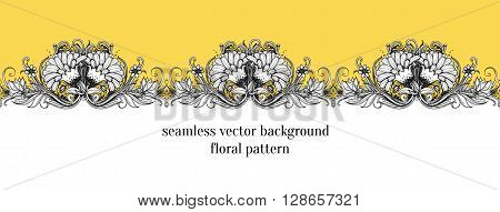 Seamless floral border. Floral frame design element. Stylized vector flowers. Botanical illustration with dahlia chrysanthemum mums flower lotus flower aster marigold and leaves. Repeating border