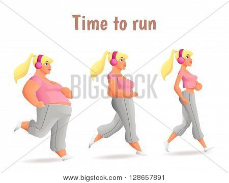 Evolution Slimming women, cartoon illustration of three women of different obesity running, fat, fatness, sports people, desire for healthy and sporty body, fitness exercises for weight loss