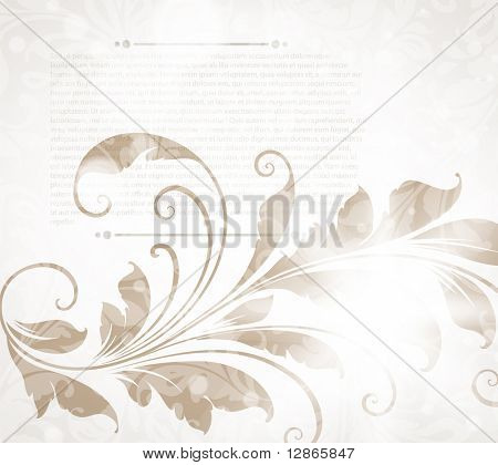 Invitation vintage card with floral ornament with flower for retro design.