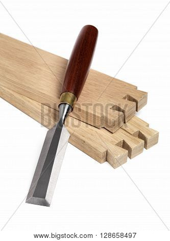 Oak boards with Dovetail joint with Chisel