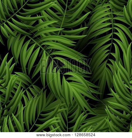 Seamless tropical jungle floral pattern with palm fronds. Vector illustration. Green Palm leaves pattern on black background