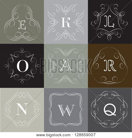 Monogram logo template with  calligraphic elegant ornament. Identity design with letter A, L, K, O, R, N, W, Q for shop, store or restaurant, heraldic, barbershop or barber, beauty salon, justic lawyer, boutique or hotel